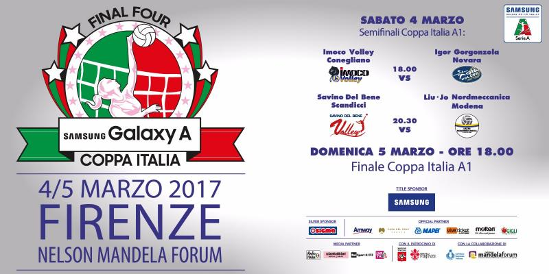 FINAL FOUR SAMSUNG GALAXY COPPA ITALIA: MARCH 4th AND 5th IN FLORENCE