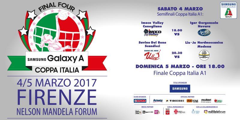 FINAL FOUR SAMSUNG GALAXY A COPPA ITALIA: 4 E 5 MARZO A FIRENZE